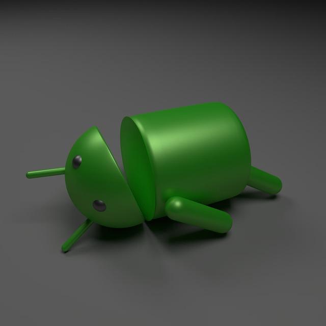 poražený Android robot na černém pozadí